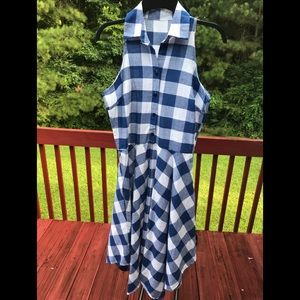 GINGHAM WORMEN'S DRESS BLUE AND WHITE